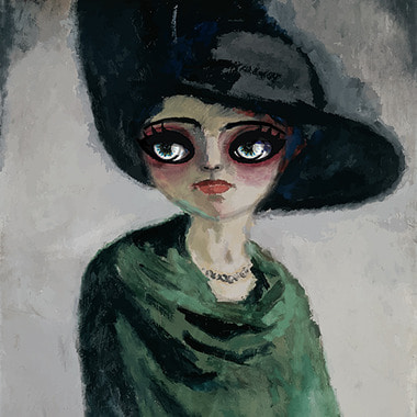 Woman with large hat, 2016