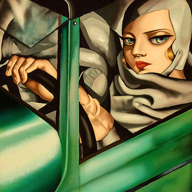 Self-portrait in a Green Bugatti (hommage of Tamara de Lempicka's) 2018