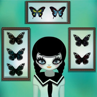 School girl with butterflies, 2009